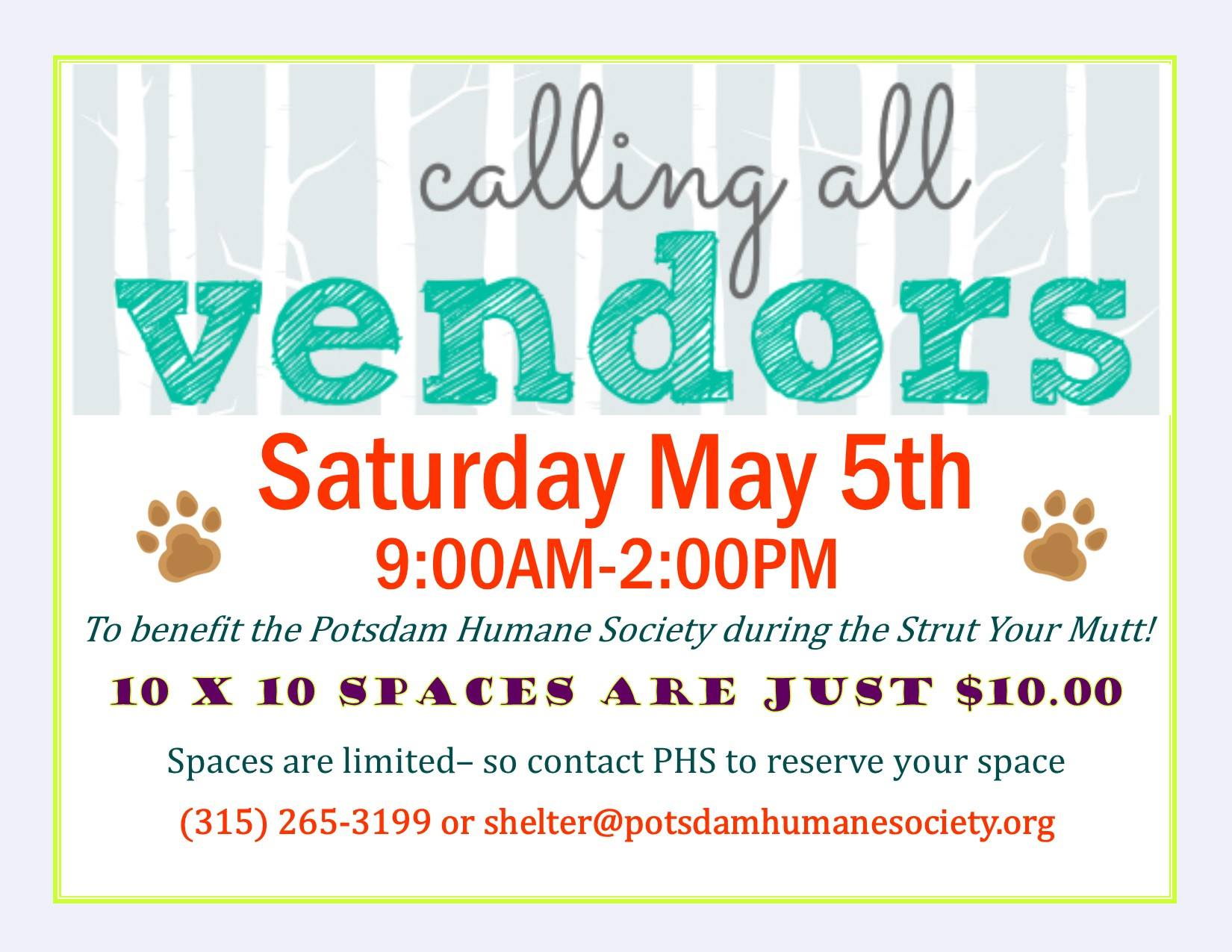 <a href='http://potsdamhumanesociety.org/wp/?p=6817'>Craft Show Saturday May 5th </a>