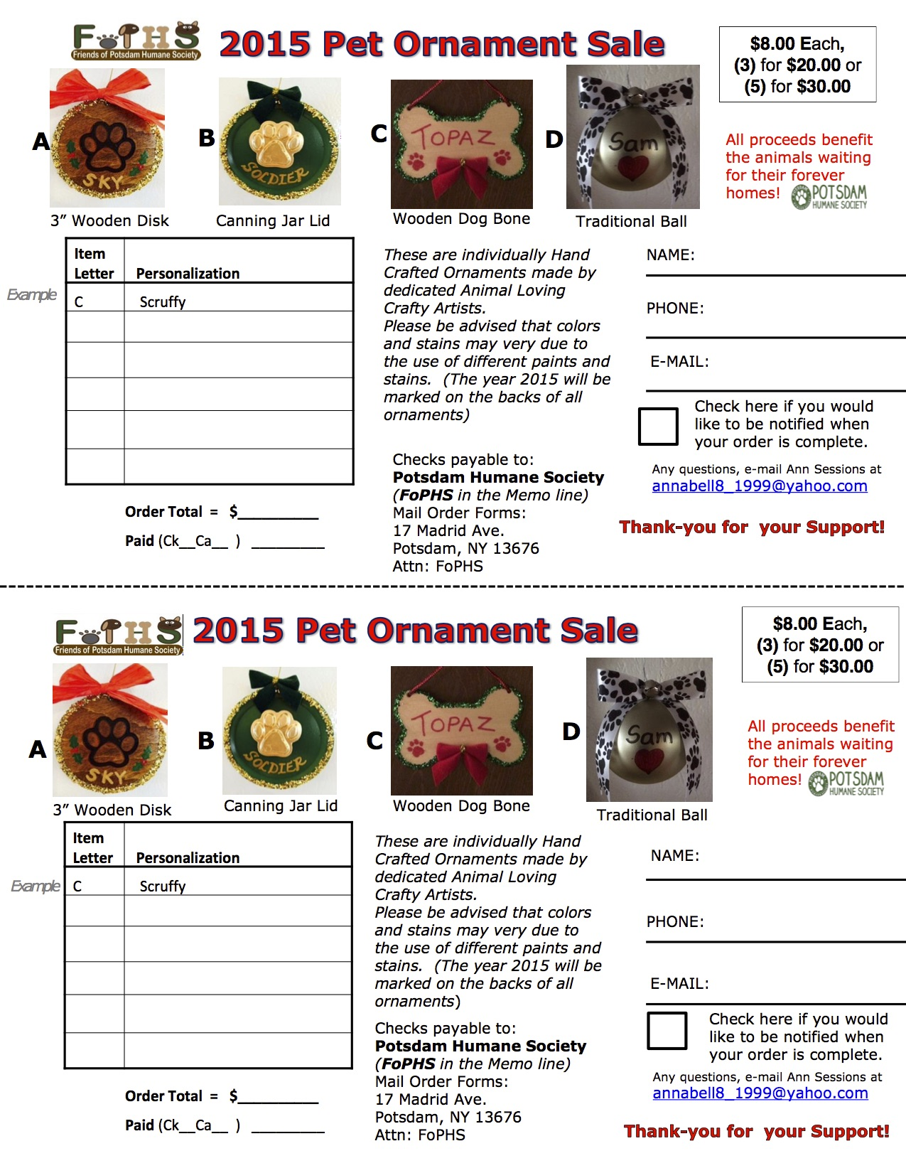 2015 FOPHS Ornament Order Form